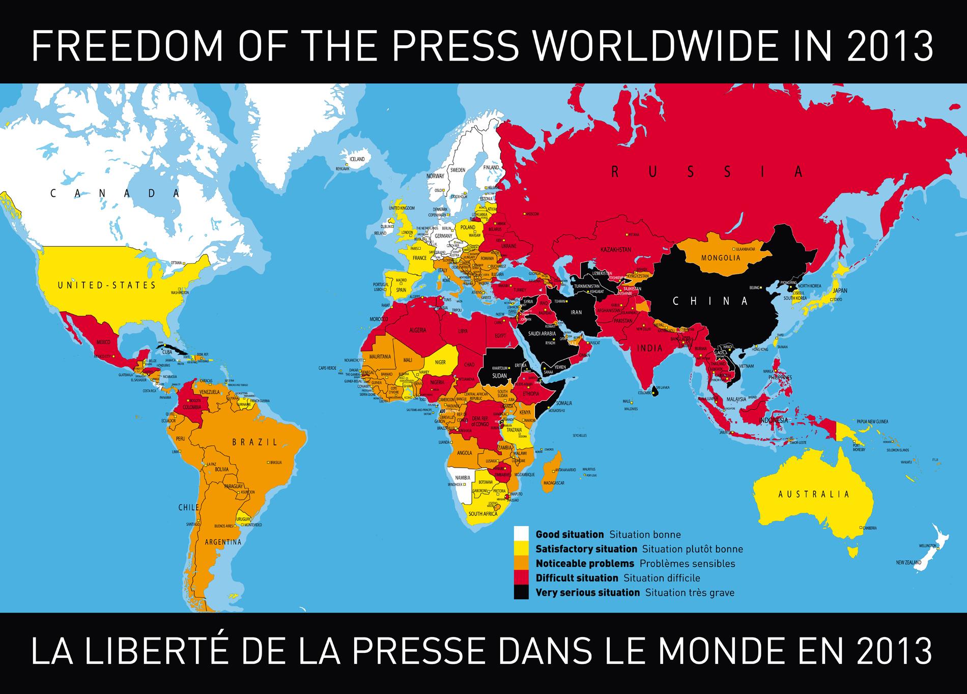 Carte de la liberté de la presse en 2013 par Reporters sans Frontières.