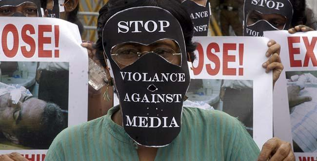 Manifestation pour la liberté de la presse au Sri Lanka.