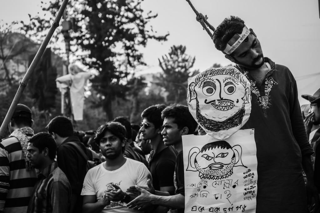 Manifestants prolaicité de Shahbag.