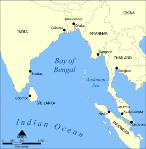 Carte de la baie du Bengale