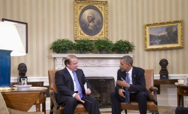 Nawaz Sharif et Barack Obama dans le Bureau Oval de la Maison Blanche.