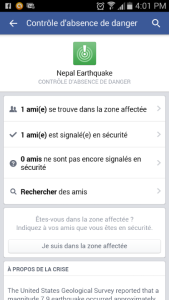 Capture mobile de l'appli Facebook