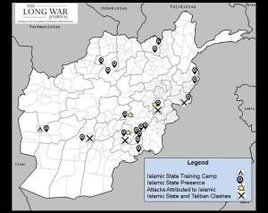 Présence de l'OEI en Afghanistan en mars 2015