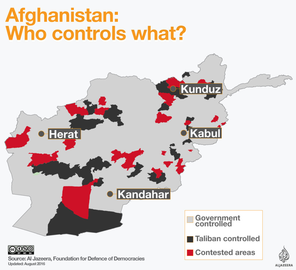 Carte de la situation en Afghanistan en août 2016 via Al Jazeera